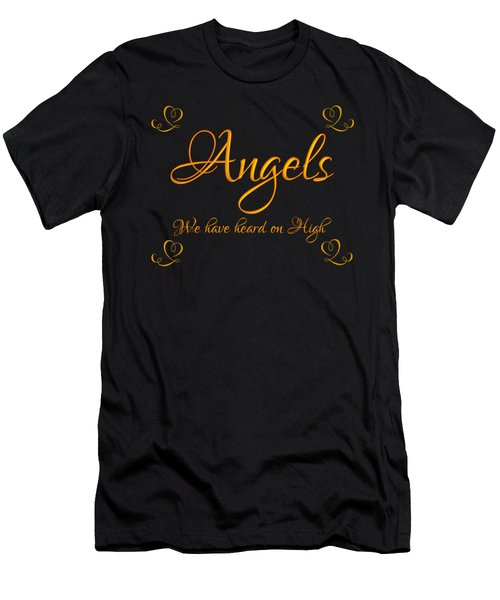 Golden Angels We Have Heard On High With Hearts Men's T-Shirt (Athletic Fit)