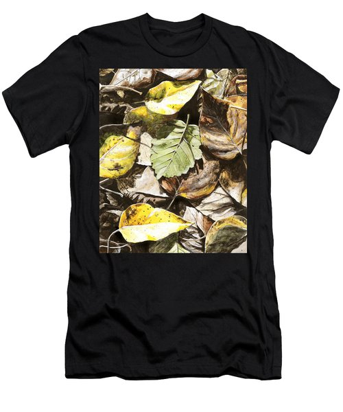 Men's T-Shirt (Slim Fit) featuring the painting Golden Autumn - Talkeetna Leaves by Karen Whitworth