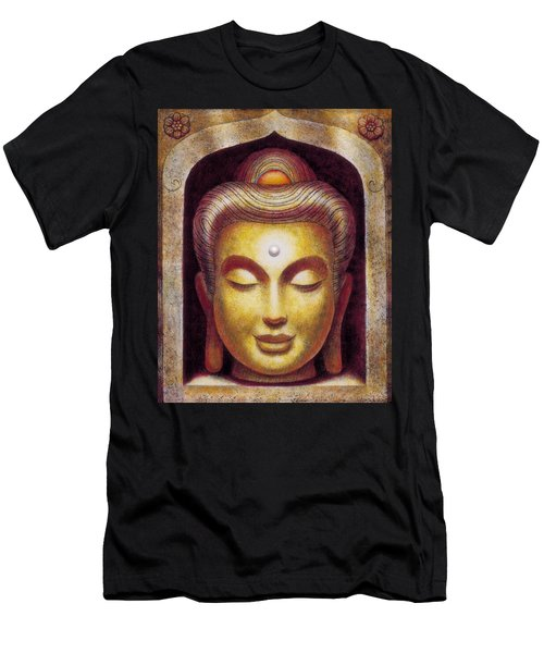 Men's T-Shirt (Slim Fit) featuring the painting Golden Buddha by Sue Halstenberg