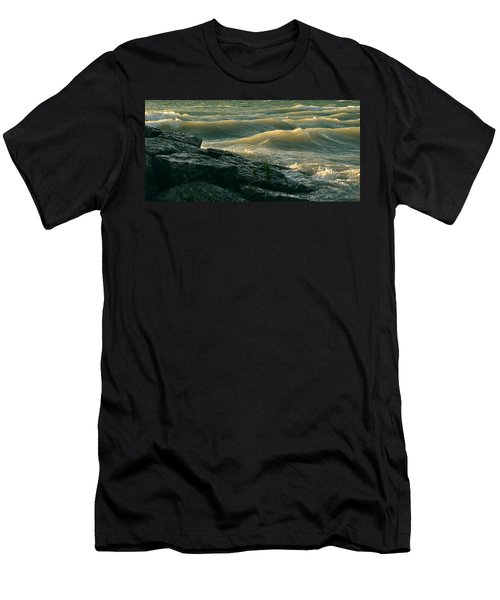 Golden Capped Sunset Waves Of Lake Michigan Men's T-Shirt (Athletic Fit)
