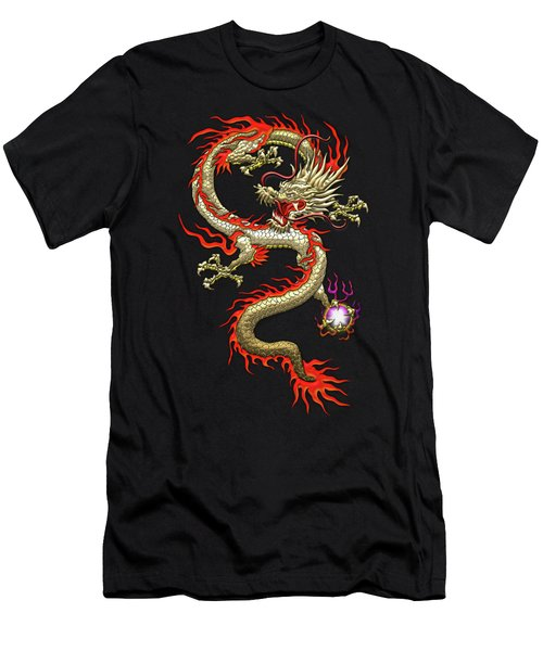 Golden Chinese Dragon Fucanglong On Black Silk Men's T-Shirt (Slim Fit) by Serge Averbukh