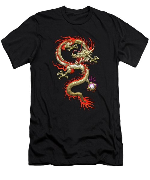 Golden Chinese Dragon Fucanglong On Black Silk Men's T-Shirt (Athletic Fit)