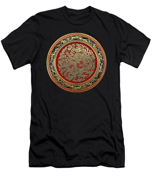 Golden Chinese Dragon On Red Velvet Men's T-Shirt (Athletic Fit)