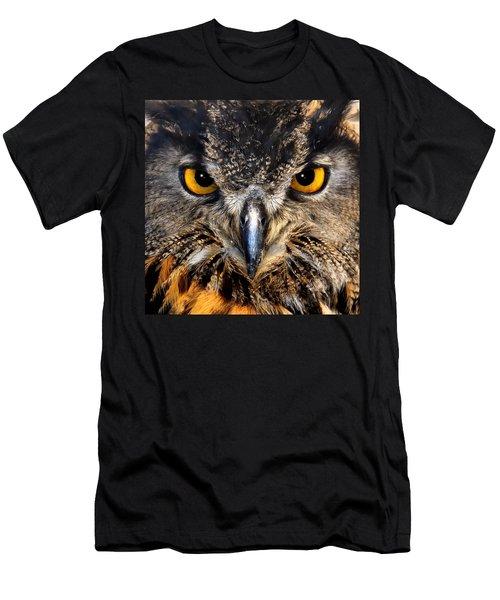 Golden Eyes - Great Horned Owl Men's T-Shirt (Athletic Fit)