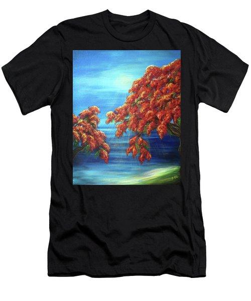 Golden Flame Tree Men's T-Shirt (Athletic Fit)