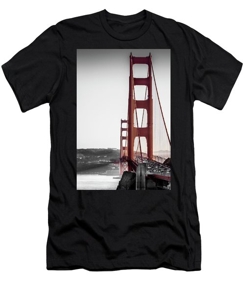 Golden Gate Black And Red Men's T-Shirt (Athletic Fit)