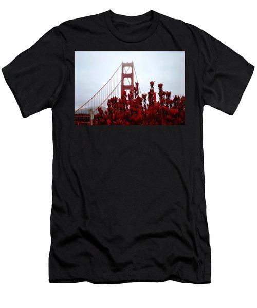 Golden Gate Bridge Red Flowers Men's T-Shirt (Athletic Fit)