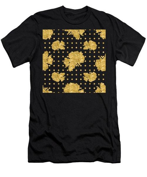 Golden Gold Blush Pink Floral Rose Cluster W Dot Bedding Home Decor Men's T-Shirt (Athletic Fit)