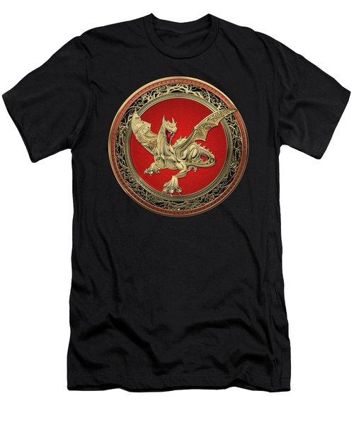 Golden Guardian Dragon Over Black Velvet Men's T-Shirt (Athletic Fit)