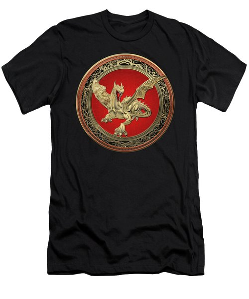 Golden Guardian Dragon Over Black Velvet Men's T-Shirt (Athletic Fit)