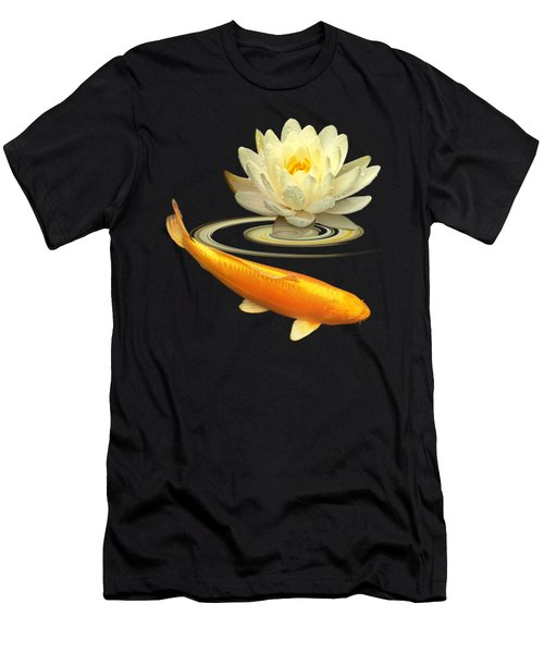 Golden Harmony - Koi Carp With Water Lily Men's T-Shirt (Athletic Fit)