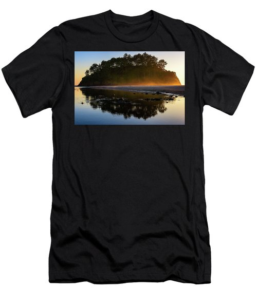 Men's T-Shirt (Athletic Fit) featuring the photograph Golden Hour Haze At Proposal Rock by John Hight