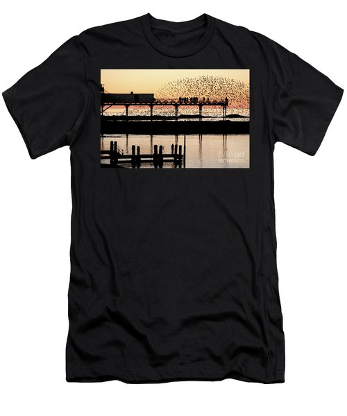 Golden Hour Starlings In Aberystwyth Men's T-Shirt (Athletic Fit)