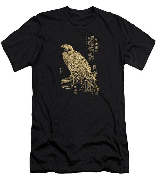 Golden Japanese Peregrine Falcon On Black Canvas  Men's T-Shirt (Athletic Fit)