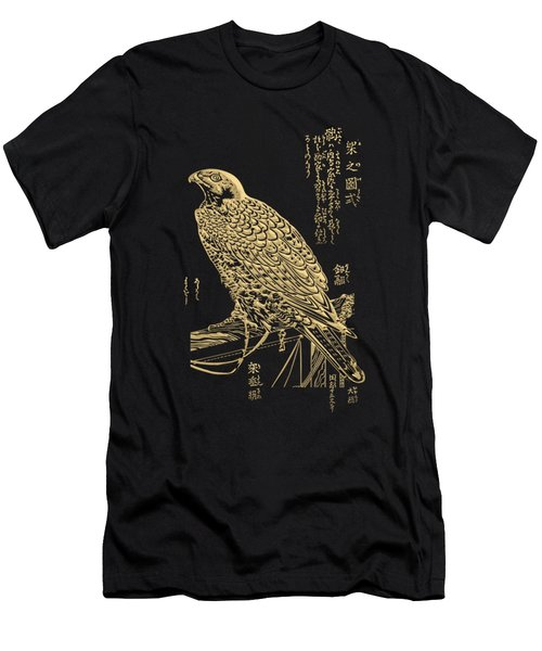 Golden Japanese Peregrine Falcon On Black Canvas  Men's T-Shirt (Athletic Fit)