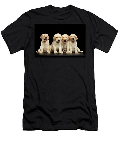 Golden Labrador Retriever Puppies Isolated On Black Background Men's T-Shirt (Athletic Fit)