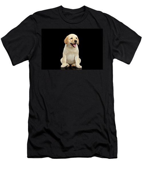 Golden Labrador Retriever Puppy Isolated On Black Background Men's T-Shirt (Athletic Fit)