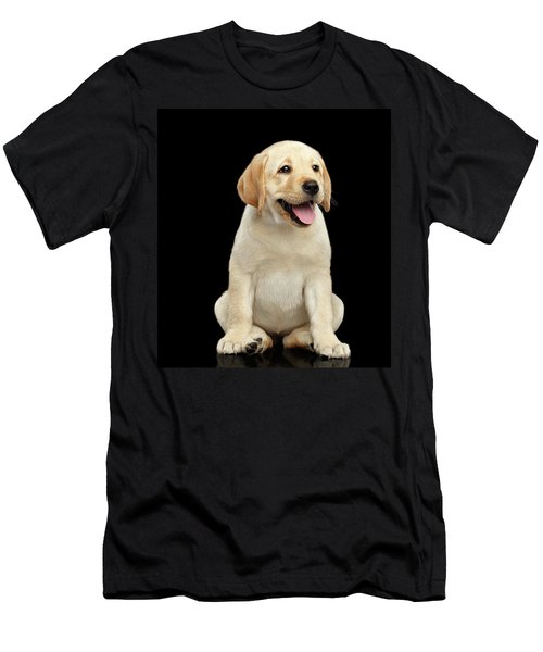 Men's T-Shirt (Athletic Fit) featuring the photograph Golden Labrador Retriever Puppy Isolated On Black Background by Sergey Taran