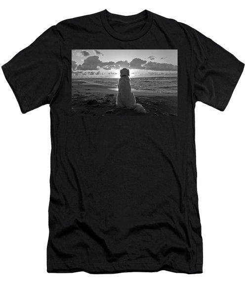 Golden Labrador Watching Sunset Men's T-Shirt (Slim Fit) by Sumit Mehndiratta
