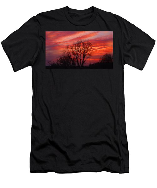 Golden Pink Sunset With Trees Men's T-Shirt (Athletic Fit)