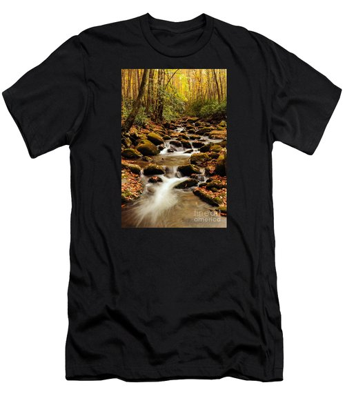 Men's T-Shirt (Slim Fit) featuring the photograph Golden Stream In The Great Smoky Mountains by Debbie Green
