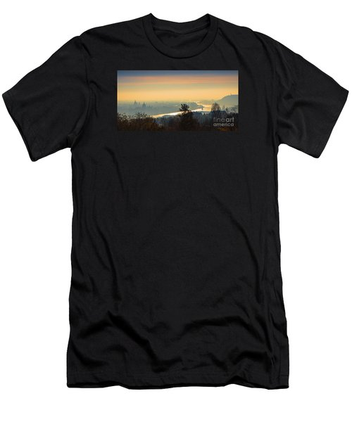 Men's T-Shirt (Slim Fit) featuring the photograph Golden Sunrise Over Budapest by Jivko Nakev