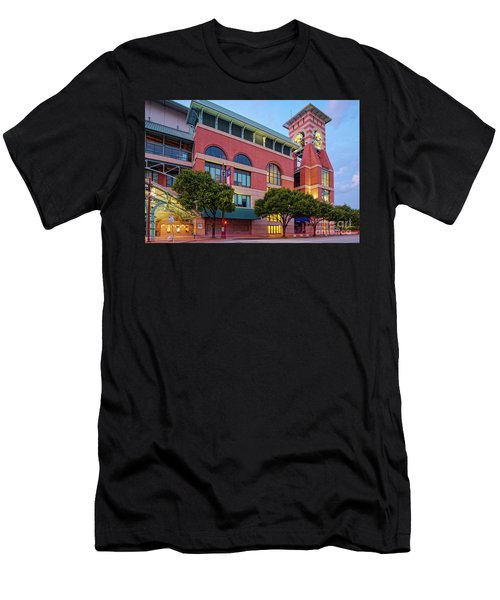 Golden Sunset Glow On The Facade Of Minute Maid Park - Downtown Houston Harris County Texas Men's T-Shirt (Athletic Fit)