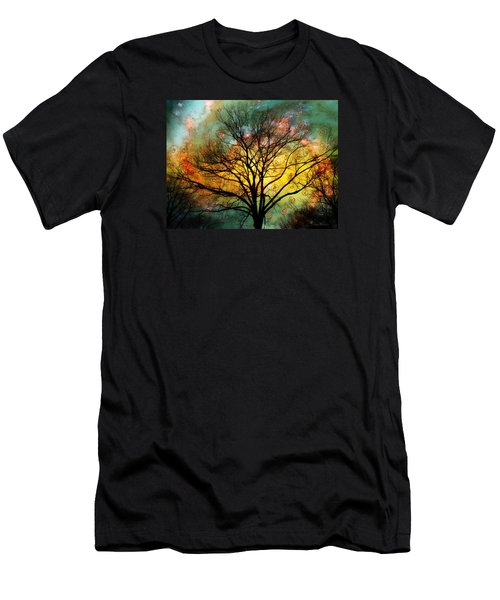 Golden Sunset Treescape Men's T-Shirt (Slim Fit) by Barbara Chichester