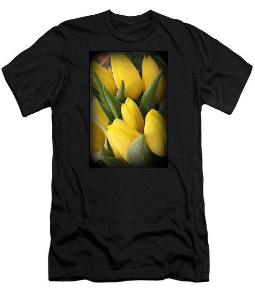 Golden Tulips Men's T-Shirt (Slim Fit) by Dora Sofia Caputo Photographic Art and Design