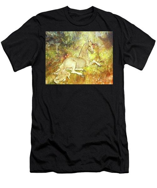 Golden Unicorn Dreams Men's T-Shirt (Athletic Fit)