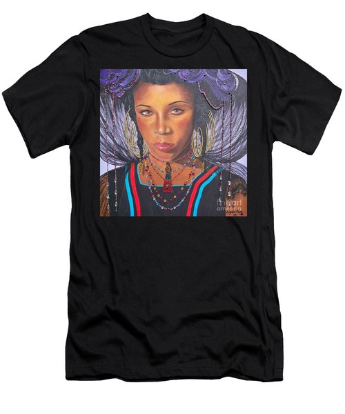 Men's T-Shirt (Slim Fit) featuring the painting Golden Wodaabe Girl by Sigrid Tune