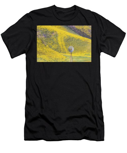 Goldfields And Windmill At Carrizo Plain  Men's T-Shirt (Athletic Fit)