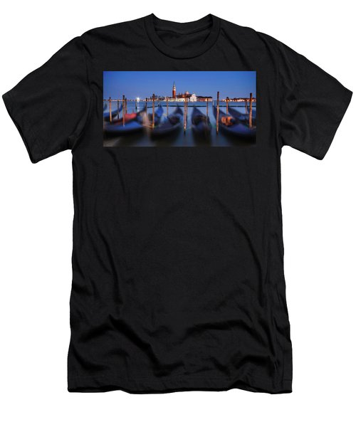 Gondolas And San Giorgio Maggiore At Night - Venice Men's T-Shirt (Athletic Fit)