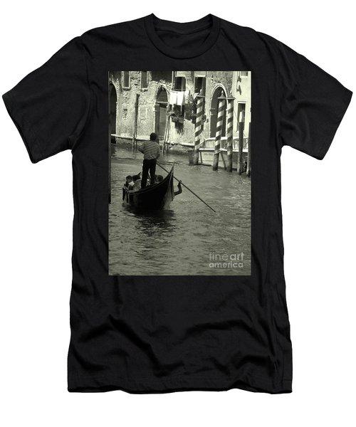 Gondolier In Venice   Men's T-Shirt (Athletic Fit)