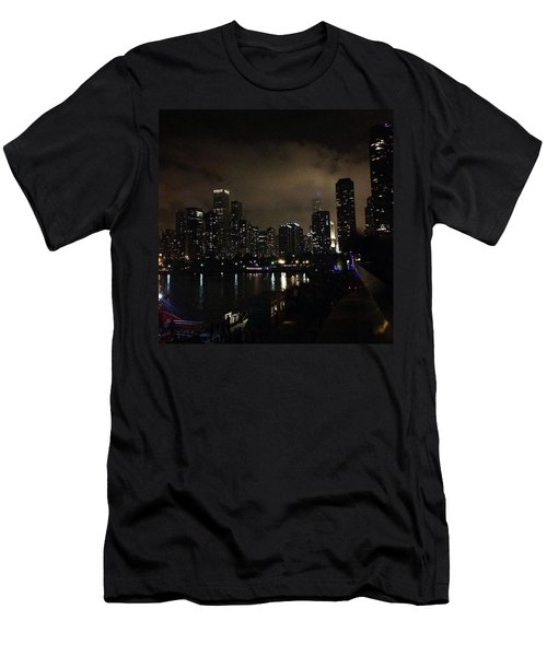 Chicago Skyline By Night Men's T-Shirt (Slim Fit) by Chantal Mantovani