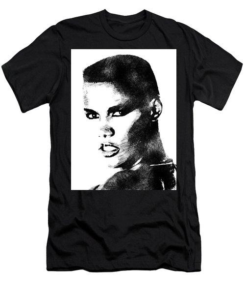 Grace Jones Bw Portrait Men's T-Shirt (Slim Fit) by Mihaela Pater