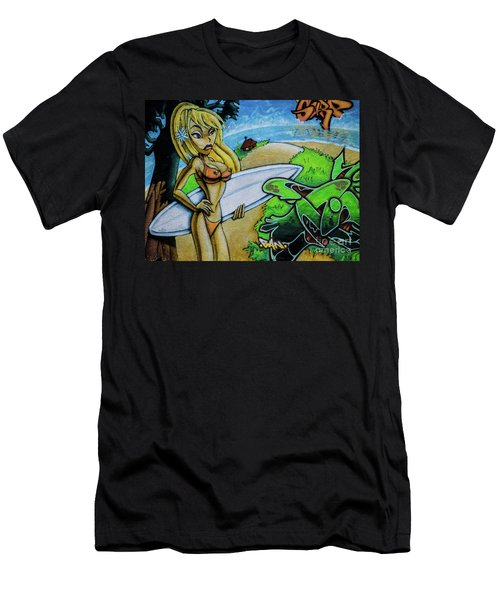 Graffiti-surfgirl Men's T-Shirt (Athletic Fit)