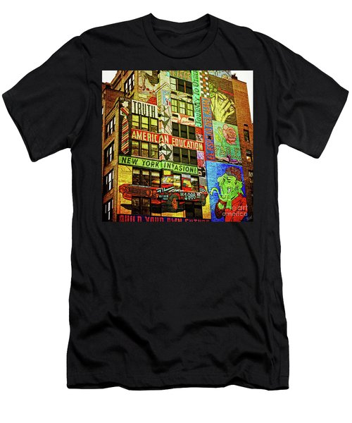 Graffitti On New York City Building Men's T-Shirt (Athletic Fit)