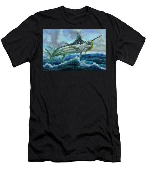 Grand Blue Marlin Jumping Eating Mahi Mahi Men's T-Shirt (Athletic Fit)