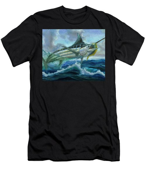 Grand Blue Marlin Jumping Eating Mahi Mahi Men's T-Shirt (Athletic Fit)