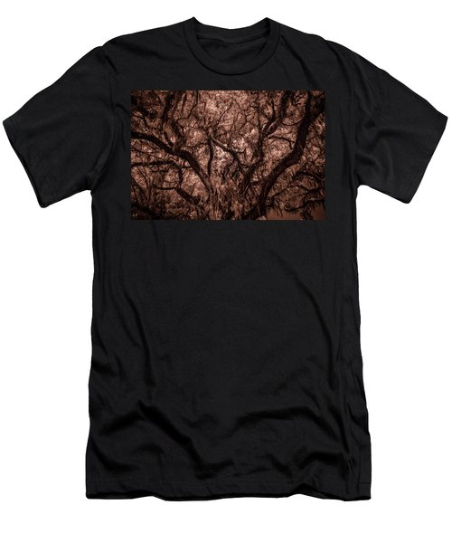Men's T-Shirt (Slim Fit) featuring the photograph Grand Daddy Oak Tree In Infrared by Louis Ferreira