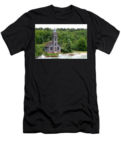 Grand Island East Channel Lighthouse #6680 Men's T-Shirt (Slim Fit) by Mark J Seefeldt
