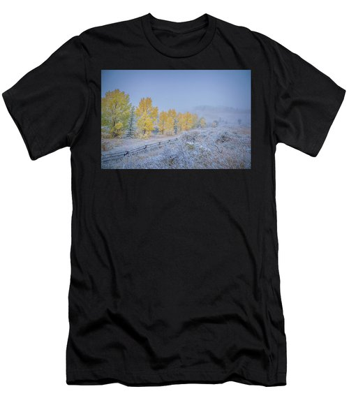 Grand Teton Fall Snowfall Scene Men's T-Shirt (Athletic Fit)