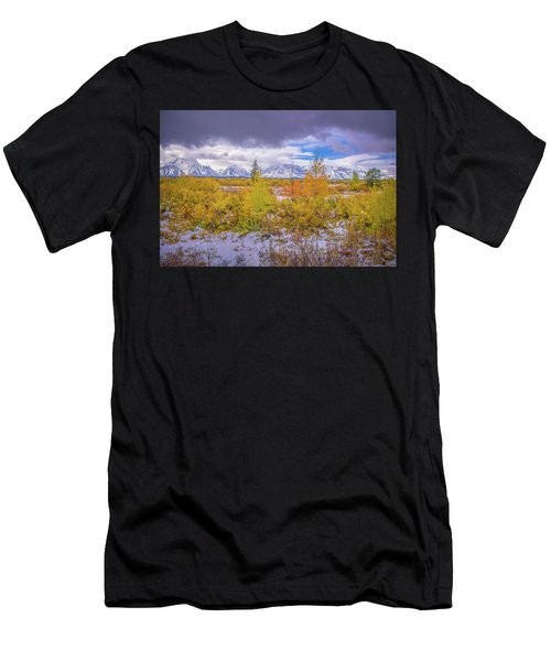 Grand Teton Fall Snowfall Men's T-Shirt (Athletic Fit)