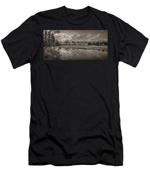 Grand Teton Monochromatic Panoramic Men's T-Shirt (Athletic Fit)