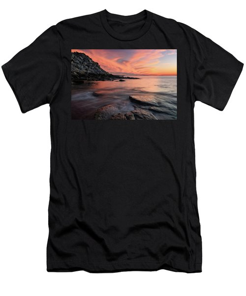 Men's T-Shirt (Athletic Fit) featuring the photograph Granite Sunset Rockport Ma. by Michael Hubley
