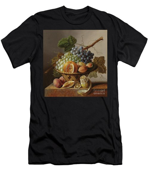 Grapes, An Orange And Walnuts In A Wicker Basket With A Lemon And Plums, All On A Marble Ledge Men's T-Shirt (Athletic Fit)