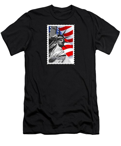Graphic Statue Of Liberty With American Flag Text Liberty Men's T-Shirt (Athletic Fit)