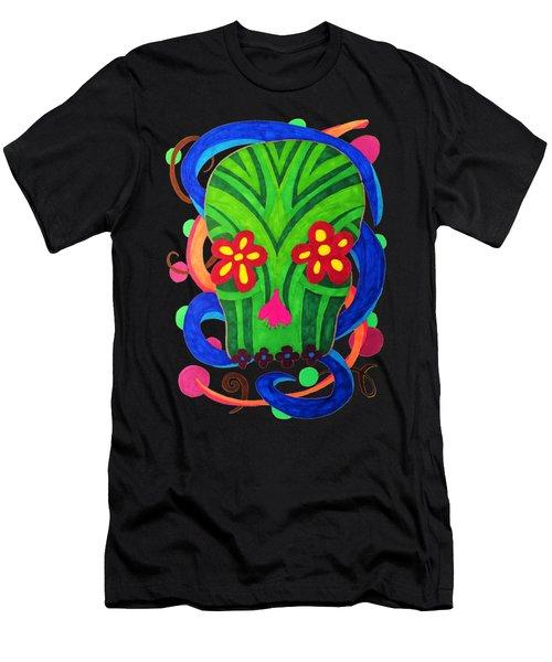 Grassy Skull Transparent Men's T-Shirt (Athletic Fit)
