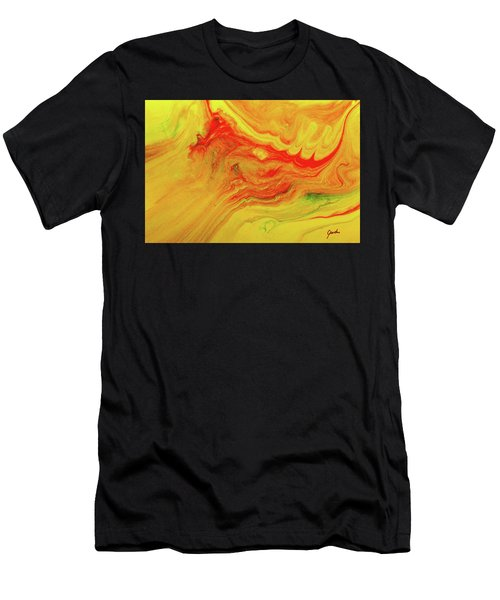 Gratitude - Red And Yellow Colorful Abstract Art Painting Men's T-Shirt (Athletic Fit)